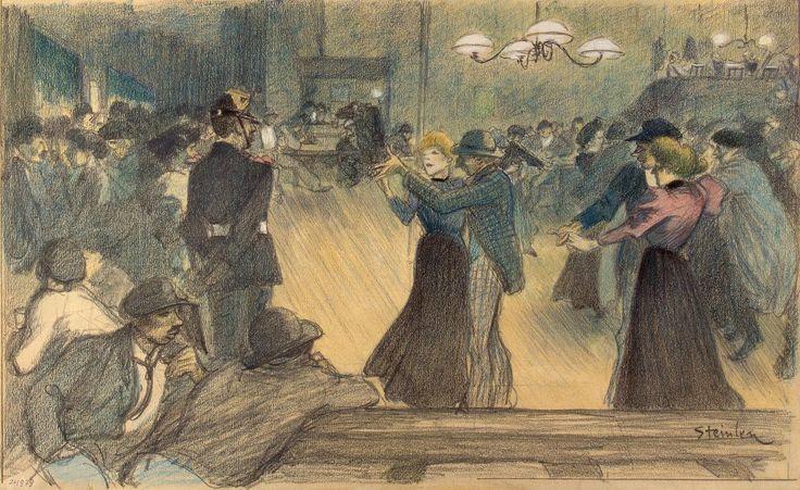 Бал в предместье Парижа Теофиль Александр Стейнлен  Швейцария  Около 1892 г.