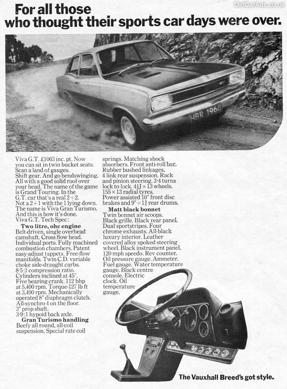 1968 Vauxhall Viva GT - For all those who thought their sports car days were over - Original Ad
