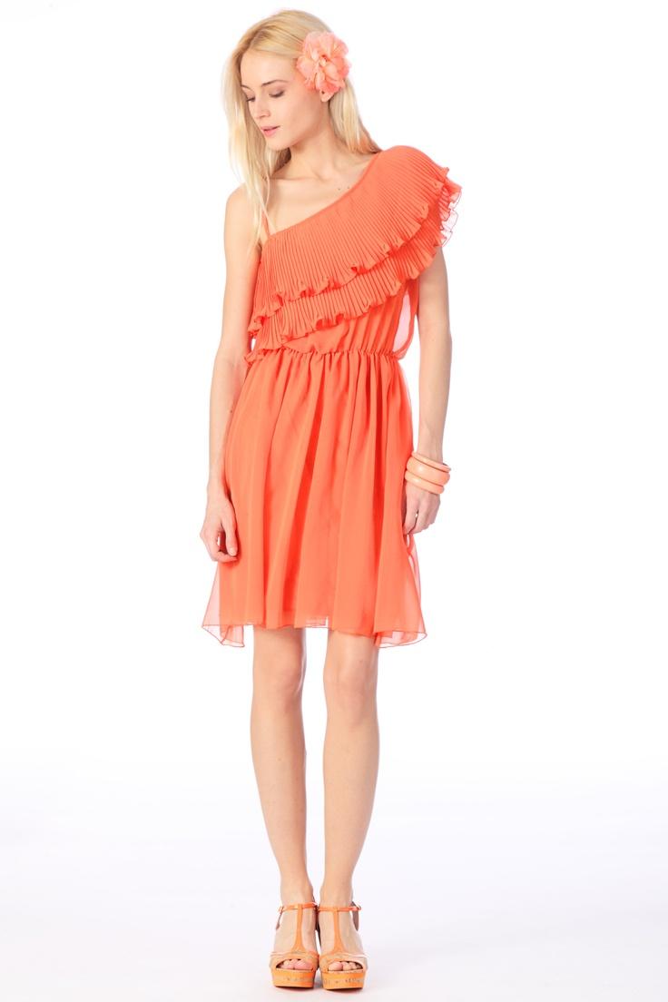 Robe asymétrique Fonelle Orange Molly Bracken sur MonShowroom.com