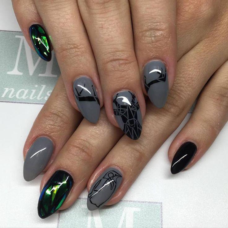 M-nails / #glasseffect #graphicdesign #graphicnails #geometricnails #handpainted #nails #nailart #nailswag #mnails