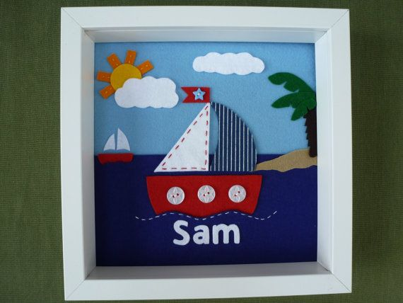 Sailboat Felt Picture, Christening gift, Personalised Felt Box Frame, Personalized Nursery Decor