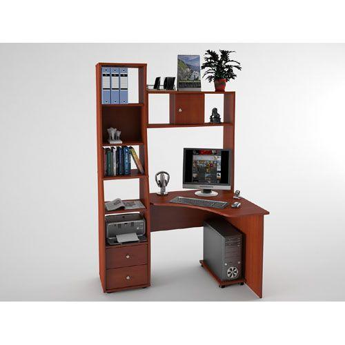 Угловой стол с полками, ящиками, подставкой для системного блока.