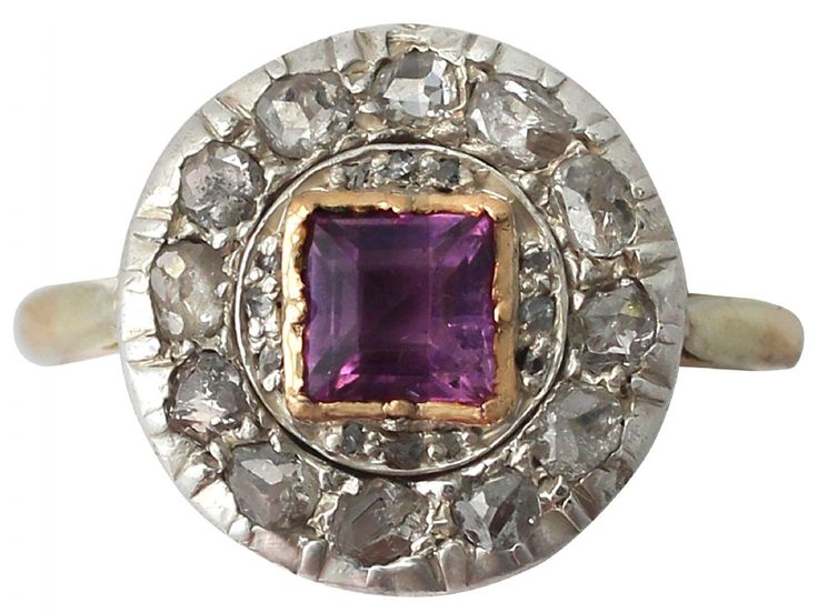 0.51 ct Amethyst and 0.60 ct Diamond, 18 ct Yellow Gold Dress Ring - Antique Circa 1910