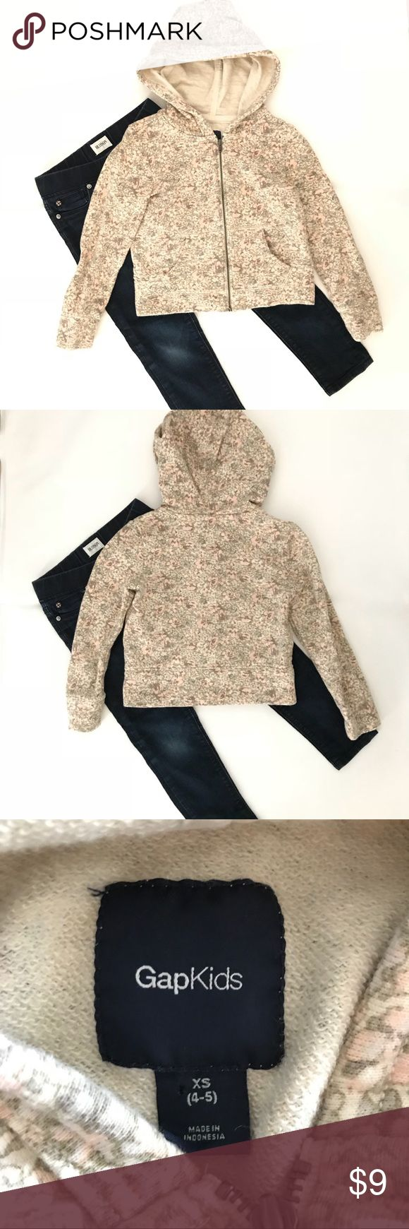 Gap floral zip up hoodie sz 4-5 like new •Gap floral zip down sweatshirt with hoodie  •Like new condition   •Free matching headband for every purchased item  •Comes from smoke free, pet free home  •This listing is for the sweatshirt only. Jeans not included. GAP Shirts & Tops Sweatshirts & Hoodies