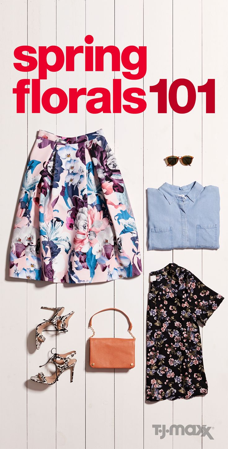 Florals are popping up at T.J.Maxx and tjmaxx.com, and they're cuter than ever. If you want to play it a little safe, a chambray shirt is the perfect top to balance out a full floral skirt. Feeling brave? Try mixing a smaller pattern floral top with your larger pattern skirt. Add a pair of strappy pumps for the ultimate dainty detail, and don't forget the sunglasses in a fun, retro shape.