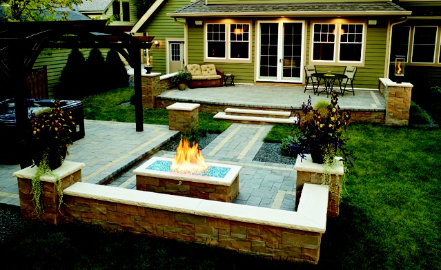 Really cool outdoor fireplace Lawn Patio Garden