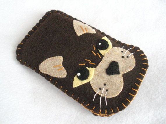 Gato marrón caja de teléfono celular de la por HeartStringsHandmade