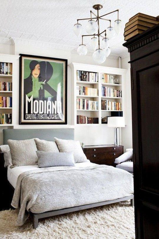 Classy bedroom- unique wall art print,comfortable gray bedding