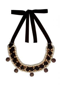 Kala Bondeux Cinq Gold Brass Brown Beige Necklace Rp 219.500,-