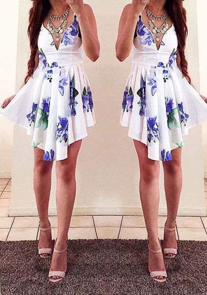 Collage picture of model in asymmetrical floral dress