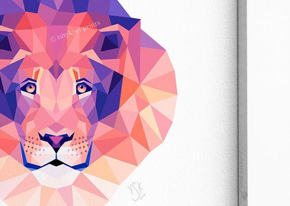 Lion Lion king Geometric print Animal art by tinykiwiprints