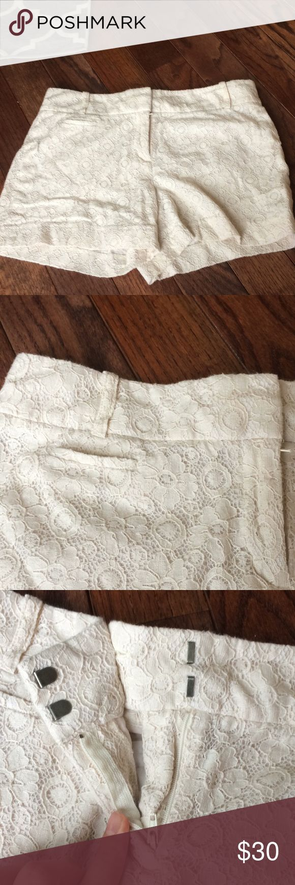 "⬇️☀️LOFT Flirty-fun Lace The Riviera Shorts These fun-flirty shorts are perfect for your warm winter vacation! Like new, these cream lace shorts won't disappoint. Size 6 with 3"" inseam.  74% cotton 26% nylon. Bundle with the other 3? LOFT Shorts"