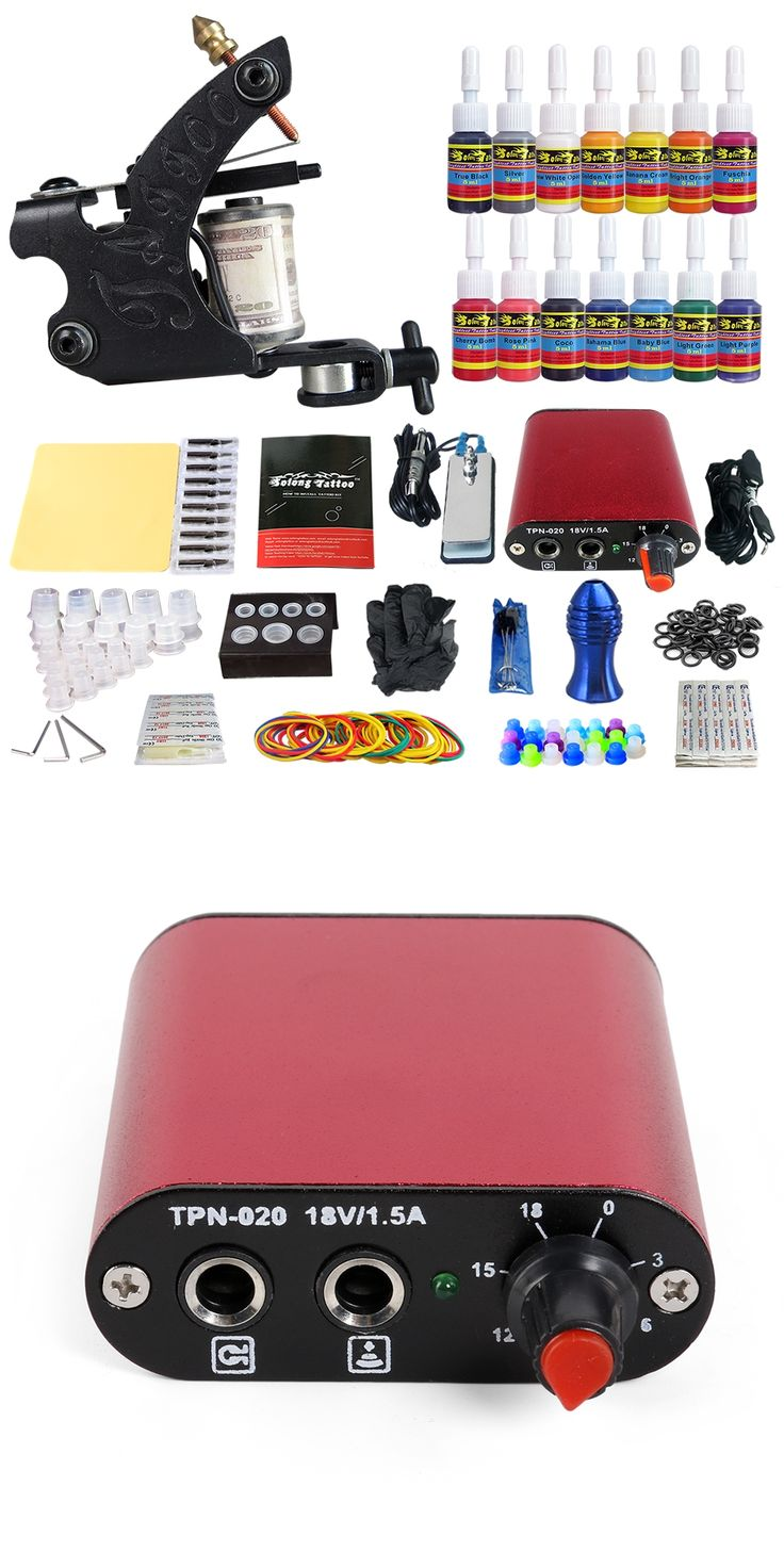 Tattoo Complete Kit Coil Tattoo Machine Guns 14 Inks Power Supply Foot Pedal Switch Needle Grips Tips Set