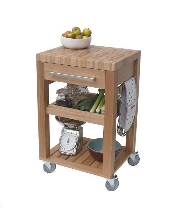 Kitchen Trolley Butchers Block Solid Oak By Jjpfurniture