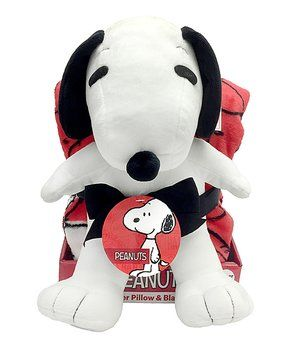 Red Peanuts Snoopy Throw Blanket & Pillow Buddy