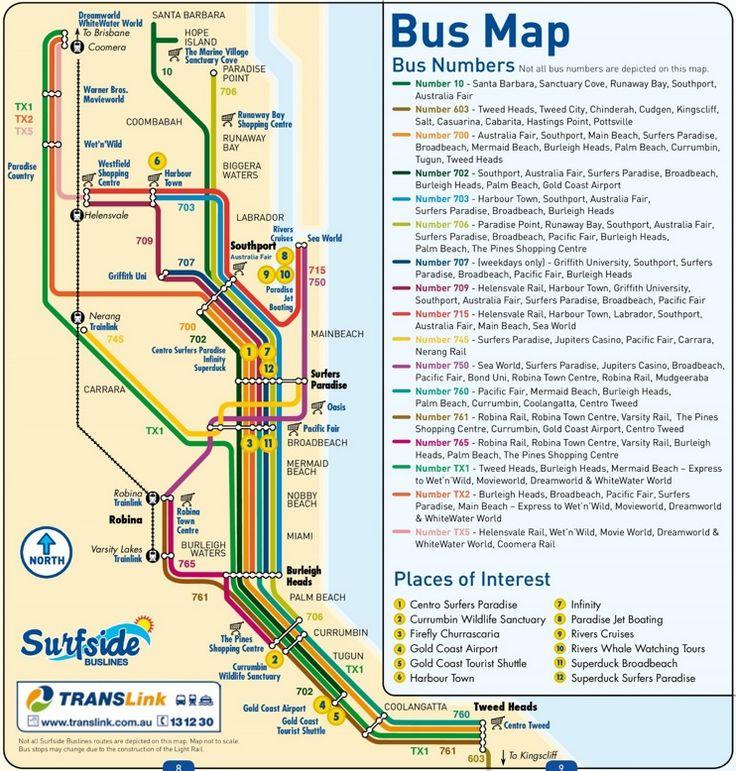 Gold Coast bus map