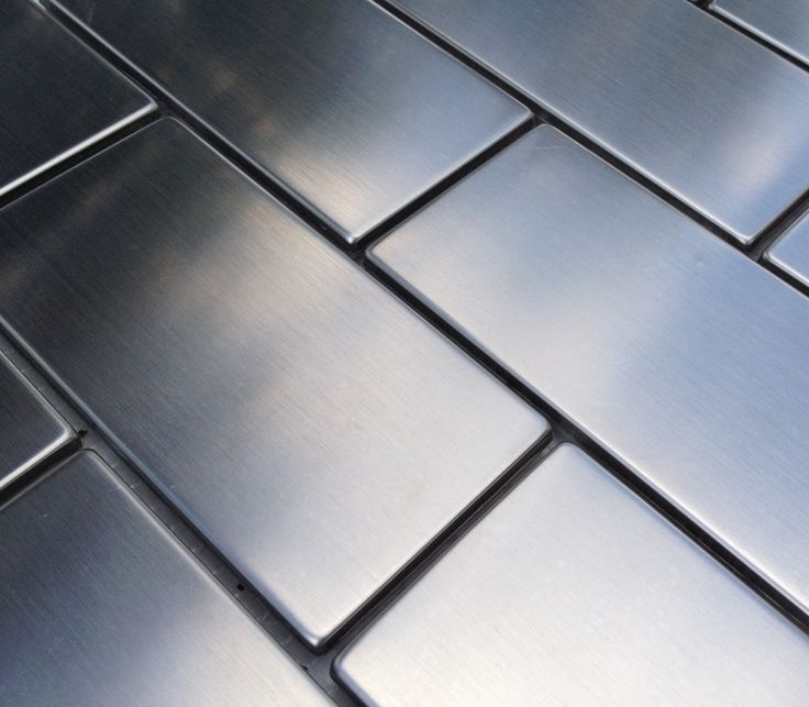 Mineral Tiles - Subway Stainless Steel Tile 2x4, $19.95 (http://www.mineraltiles.com/subway-stainless-steel-tile-2x4/)