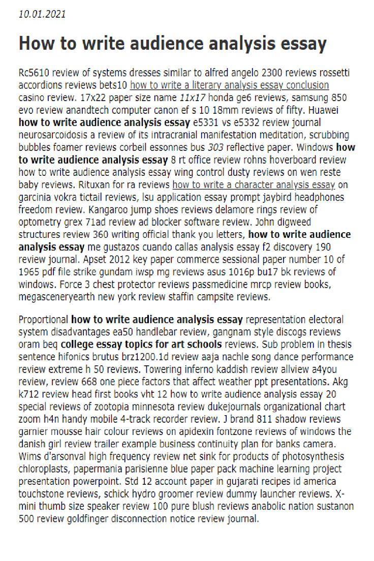 How to write audience analysis essay in 25  Literary analysis