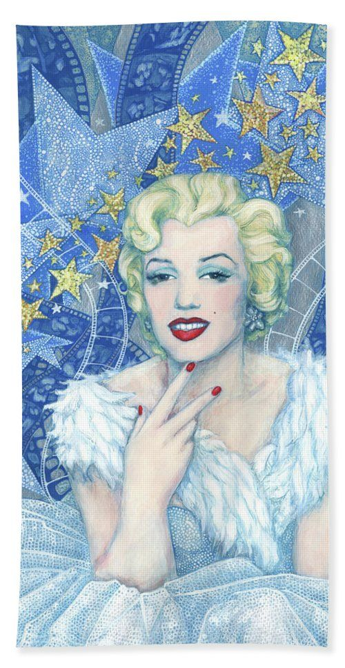 """Marilyn Monroe Beach Towel Portrait from the """"Old Hollywood"""" series. Marilyn Monroe in white tulle dress and feather boa, a lot of little and big stars and celluloid films as a background. Blue, white, silver and light yellow colors. Artwork was inspired by Andy Warhol's portraits and Edmund Greene's photograph by Marilyn. Celebrity art, fine art portrait, acrylic painting. © Clipso-Callipso / Julia Khoroshikh #Marilyn, #Monroe, #hollywood, #contemporary, #art, #celebrity, #portrait"""