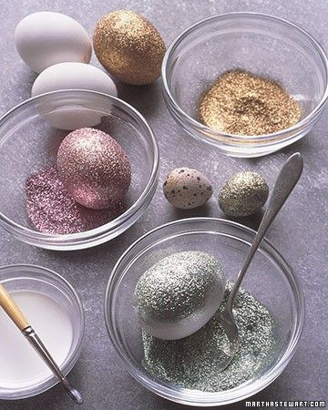Glittered eggs! Instructions: Brush craft glue onto egg. Gently set in bowl of glitter. Spoon glitter over egg, covering entire surface. Remove from bowl; set on wax paper to dry for 1 hour.