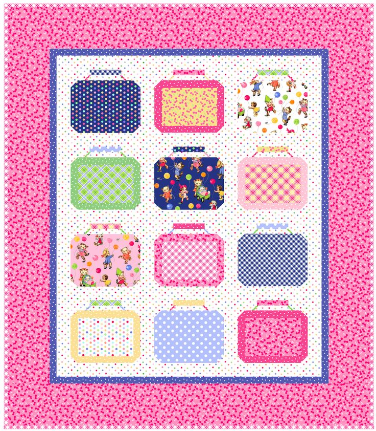 Lunch Boxes Quilt Kit featuring Pam Kitty Picnic - at Fat Quarter Shop
