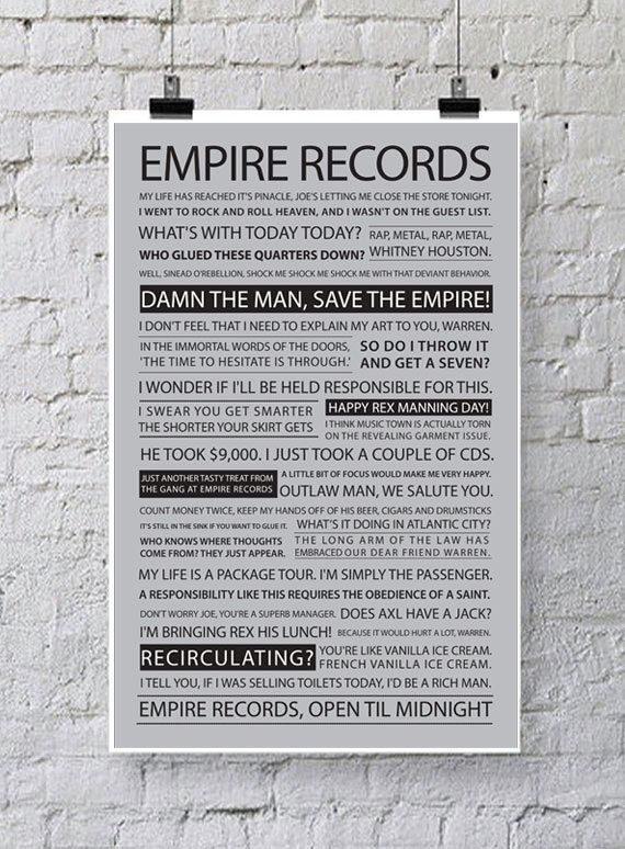 11x17 Empire Records Quote Poster by PoppinsDesign on Etsy
