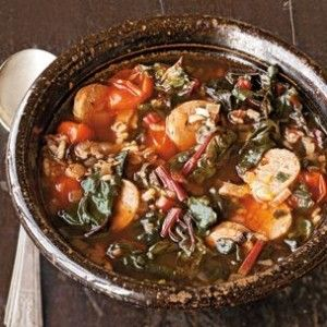 Wild Rice and Red Chard Soup with Andouille | ~SOUPS/STEWS/CHOWDERS ...