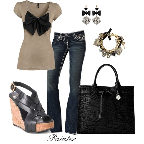 I love this bow! It would be easy to make and put it on any cute shirt:): Casual Outfit, Shirts, Dream Closet, Cute Outfits, Jeans, Wedges Shoes, Charms Bracelets, Sophisticated Bows, Big Bows