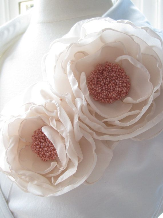 double bloom fabric flower brooch corsage pin in nude and flesh pink froth - Made To Order - LETITIA. $60.00, via Etsy.