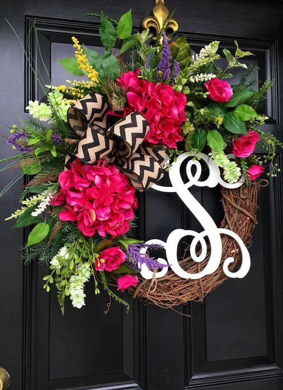 Spring Wreaths for Front Door Grapevine Door by FleursDeLaVie