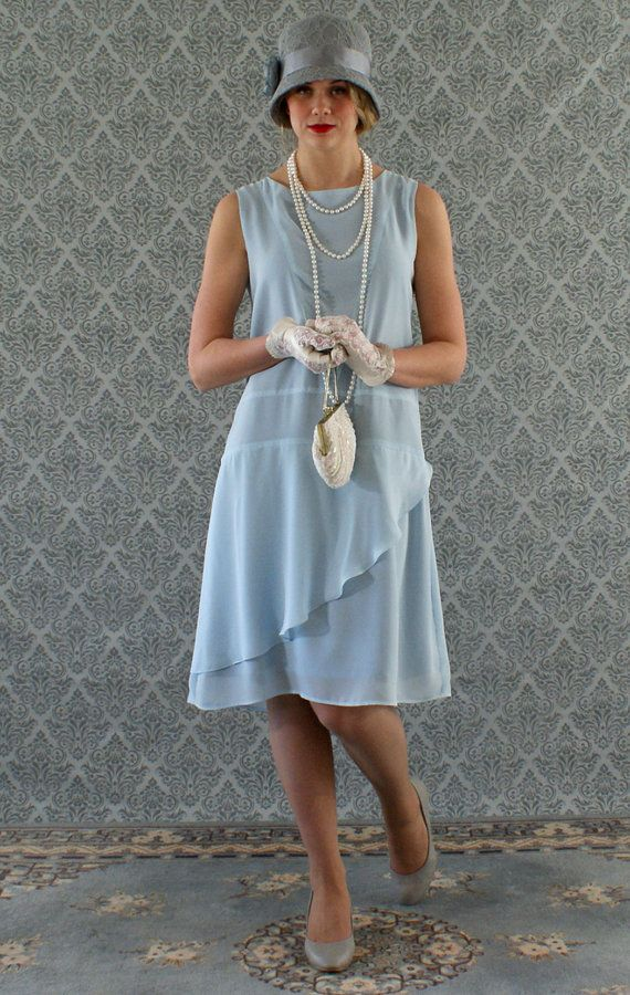 Stylish flapper dress in light blue Roaring 20s dress Great Gatsby dress Downton Abbey dress 1920s flapper dress robe Charleston dress $130.00 AT Vintagedancer.com