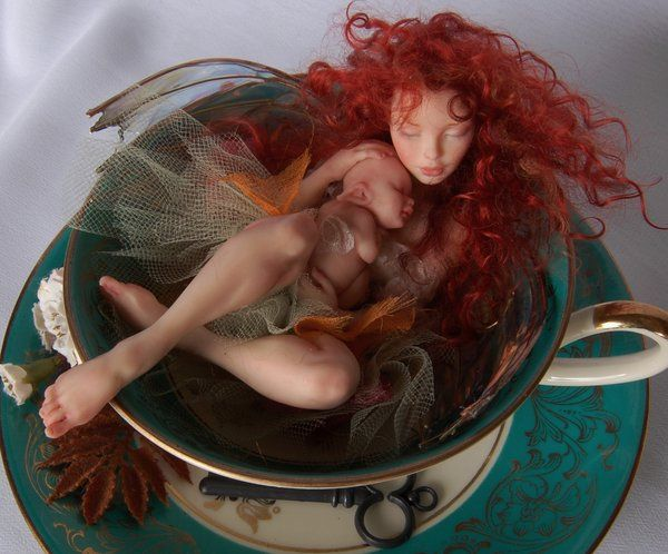 Teacup Fairy and baby 1 by polymer-people.deviantart.com on @DeviantArt