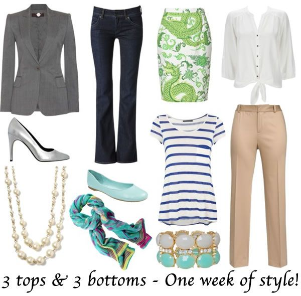 How to dress with 3 tops and 3 bottoms for one whole week!