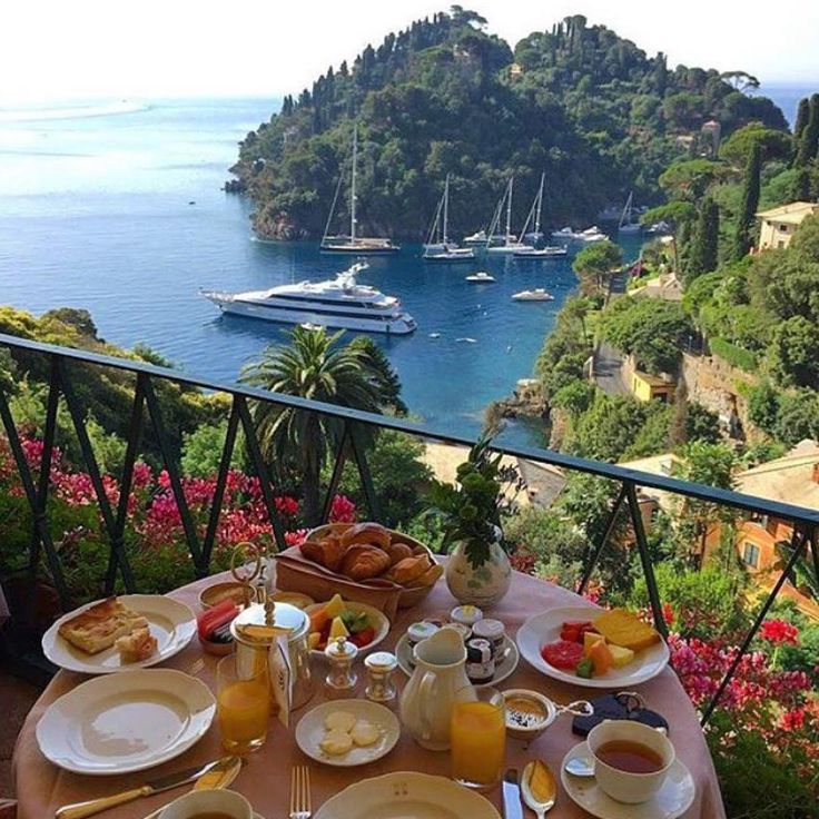 """tasty breakfast with a gorgeous view """"@luxuryvacations kind of breakfast in Porto Fino"""""""