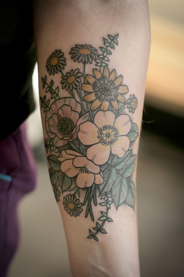 Wildflower bouquet done by Kirsten Holliday @ Wonderland Tattoo in Portland, Oregon