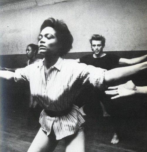 Eartha Kitt teaching a dance class with James Dean in the background.Dean Dance, Earthakitt, Kitt Teaching, Dance Dean, Eartha Kits, James Dean, Eartha Kitt, Sexy Eartha, Jamesdean
