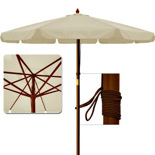 Wooden Garden Parasol Large Patio Umbrella Outdoor Sun Shade Canopy Beige  3.5 M