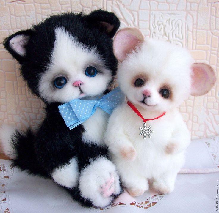 Купить Лучшие друзья - чёрно-белый, кот, котик, котик тедди, кот в подарок, котенок