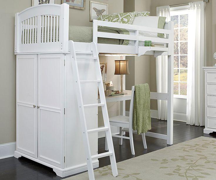 White Loft Bed Desk - Western Living Room Set Check more at http://www.gameintown.com/white-loft-bed-desk/