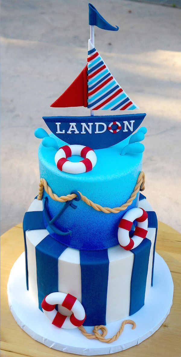 Nautical birthday cake by Cindy Ngar of Cindy's Little Cakery in the Sail Away Showcase | Satin Ice