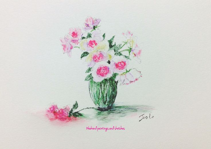 Roses. At flower market Aoyama. Watercolour pencils Paper: Winsor & Newton COTMAN 227 x 158mm