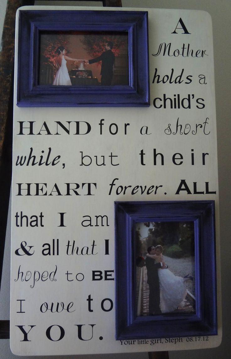 Mother of the Bride Saying 22 x 13 Custom With Your Own Quote Letter Lyrics Poem