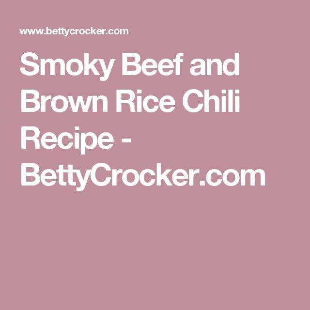 Smoky Beef and Brown Rice Chili Recipe - BettyCrocker.com