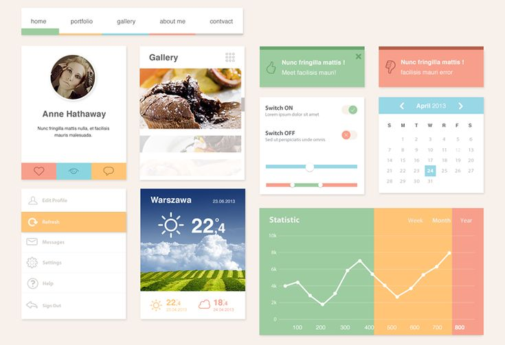 """This flat UI kit  is called """"Ero Widgets"""" and comes courtesy of Speckyboy. It's got a nice selection of accent colors on a base white with a series of content widgets to start your next design project."""