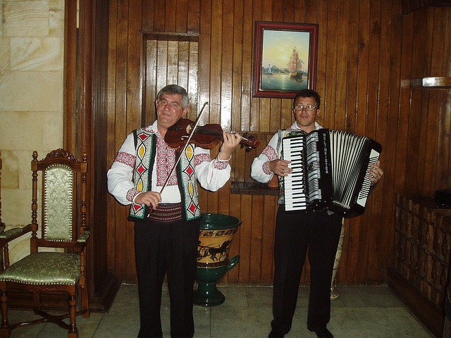 The musicians were new, and had only been working for two months as far as I can recall. They were good. In the tasting room of the wine cellars of Milestii Mici outside Chisinau, Moldova.