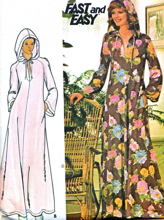 1970s Caftan Pattern Butterick 4513 Long Hooded by paneenjerez, $12.00 Without hood!