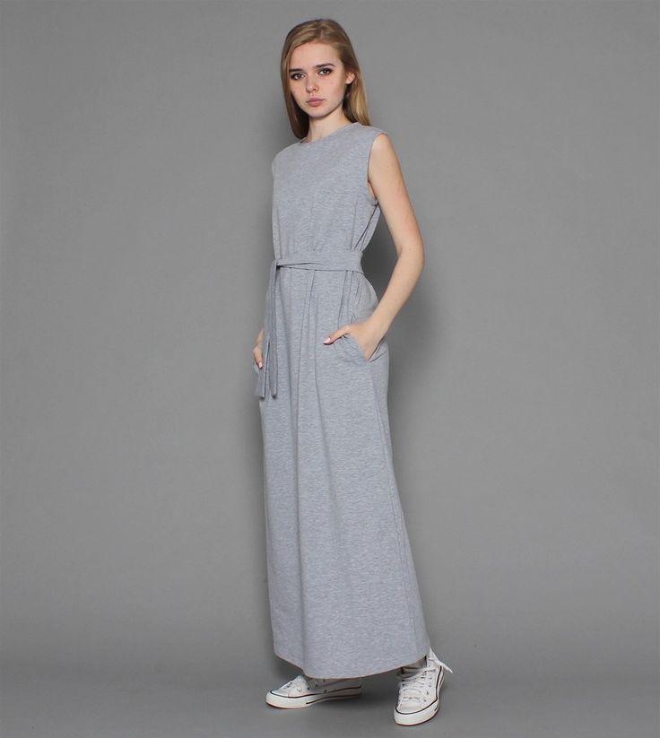 Светло-серое платье макси maybe ... с поясом