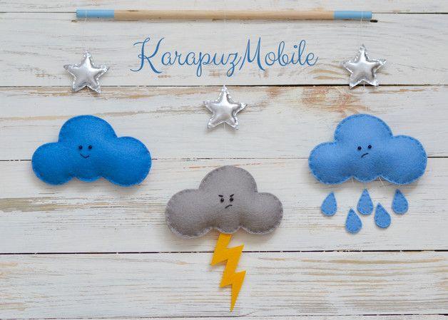 Mobile - Baby mobile, nursery mobile, star mobile, cloud mo - ein Designerstück von KarapuzBoutique bei DaWanda