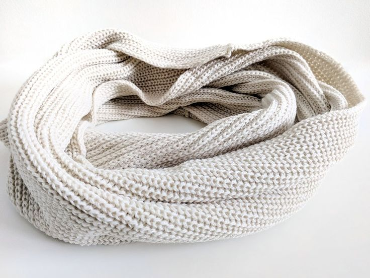 Basic White Knit Infinity Scarf