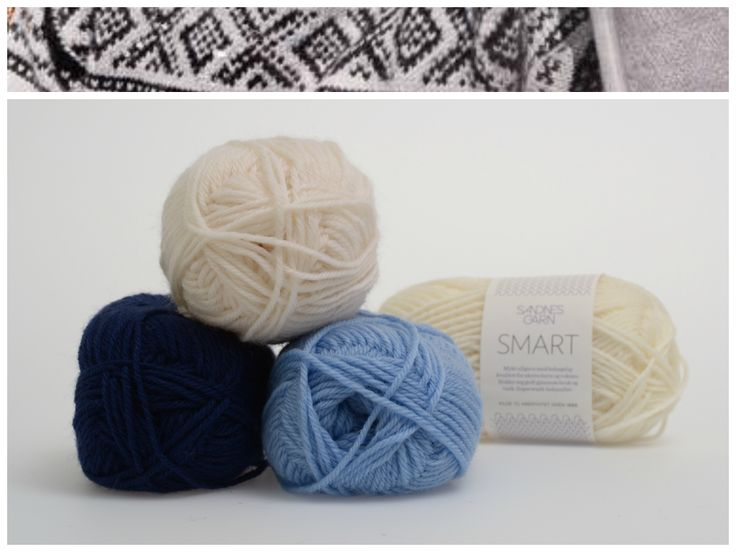Marius med hvit mønster i garnet Smart  1002, 5904, 5575 #farger #fargekombinasjoner #garn #inspirasjon #marius